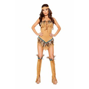 Roma Costume Adult Women Halloween Party Outfit 2 Piece Native American Seductress Honey - Medium