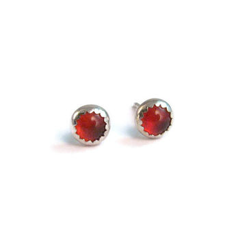 Red Carnelian Stud Earrings - Bezel Set Carnelian and Sterling Silver in 4mm Size - Tiny Stud Earrings