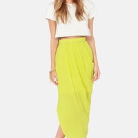 Lumier Candied Citron Chartreuse Yellow Skirt