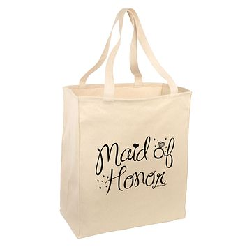 Maid of Honor - Diamond Ring Design Large Grocery Tote Bag