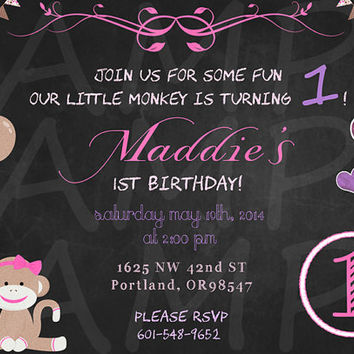 Chalkboard monkey invitation - monkey birthday invitation - monkey invite - chalkboard birthday invitation - monkey baby shower invitation