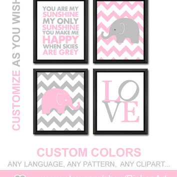 chevron elephant nursery baby girl nursery ideas new baby gift girl wall art baby room decor girls room decor gift for girls nursery saying