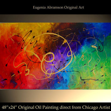Original Abstract Modern Oil Painting on Canvas 48x24 Large palette knife technique Contemporary Fine Art Wall Decor by Eugenia Abramson