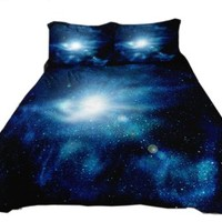 Anlye Outer Space Bedding Set 2 Sides Printing Outer Space Quilt Cover Outer Space Bed Sheets with 2 Matching Outer Space Pillowcase Queen
