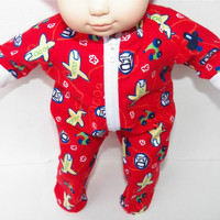 "American Girl Bitty Baby Clothes 15"" Doll Clothes Boy Red Airplane Fall Autumn Winter Flannel Zip Pajamas Pjs Sleeper"