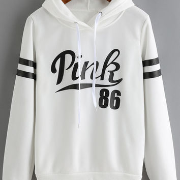 White Drawstring Hooded Letters Print Sweatshirt -SheIn(Sheinside)