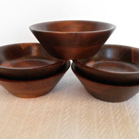 Wood Bowls Solid Wooden Salad Bowl Set of Five Holiday Sale