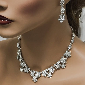 wedding jewelry, Bridal jewelry set, bridal necklace, wedding necklace, back drop necklace, Zircon crystal jewelry, bridesmaid jewelry set