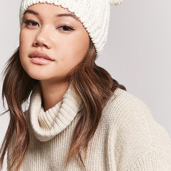 Cable Knit Pom Pom Ear Beanie