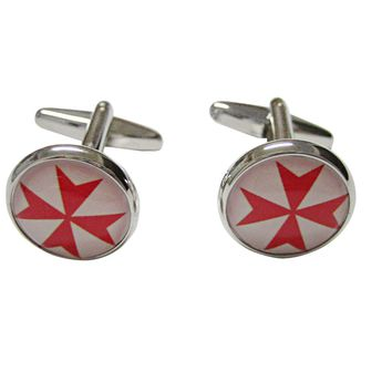 Red Maltese Cross Pendant Cufflinks