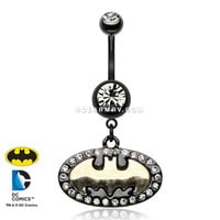 Batman Sparkle Black Titanium PVD Belly Button Ring