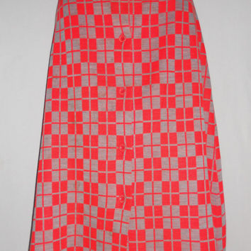 Vintage 80s Red Grey Button Up Checker Print Geometric Skirt Gino Paoli Made in Italy Acrylic Wool Size 8