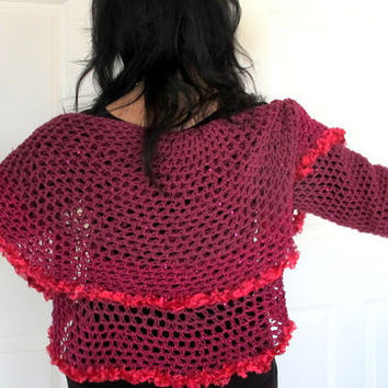 Purple circle shrug, luxury yarn with sequins, circle shrug, hand crochet evening wrap, outerwear