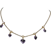 Antique Victorian Sweetheart Necklace Amethyst Pearl 14 Karat Gold Vintage Jewelry