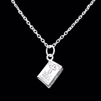 Holy Bible Religious Cross Christian Charm Gift Necklace