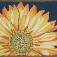 "Sunflower Navy 20"" x 30"" Indoor/Outdoor Rug"