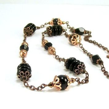 Black Glass Stone and Copper Beaded Handmade Necklace