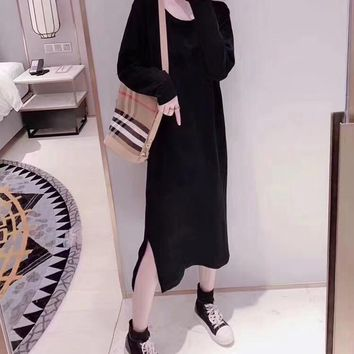 Fashion Casual Flamingo Letter Print Furcal Crossed Long Sleeve Middle Long Section T-shirt Mini Dress