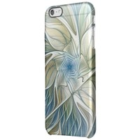 Floral Dream Pattern Abstract Blue Khaki Fractal Clear iPhone 6 Plus Case
