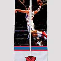 Blake Griffin Los Angeles Clippers Custom Socks - Custom Sublimated Socks - Socktimus Prime - NBA LA Clippers Socks