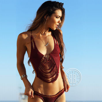 Summer Hot New Arrival Sexy Swimsuit Swimwear Tassels Crochet Ladies Beach Bikini [9891795274]