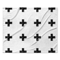 "Skye Zambrana ""Swiss Cross White"" Simple Light Fleece Throw Blanket"
