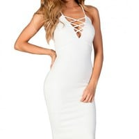Jenica White Spaghetti Strap Plunging Strappy Cut Out Bodycon Midi Dress
