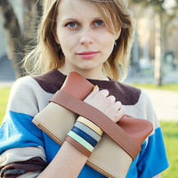 Brown clutch CarryMe, vegan leather