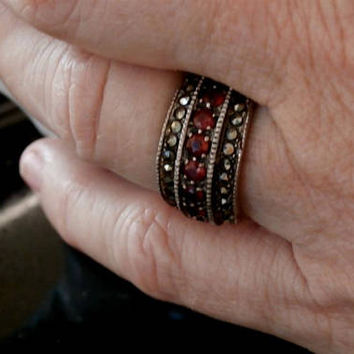 Vintage Sterling Silver Genuine Marcasite Band Ring with Red  Stones, Rubies Band Ring, Art Deco Ring - Heirloom Jewelry Ring, size 7.5