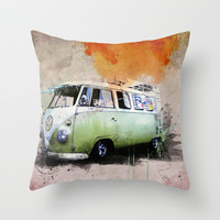vintage volkswagen Throw Pillow by hardkitty