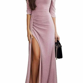 Blush Metallic Glitter Off Shoulder Maxi Party Dress