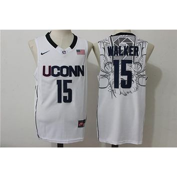 Online NCAA University Basketball Jersey Connecticut Huskies UConn # 15 Kemba Walker White