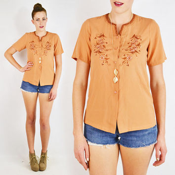 vintage 70s 80s orange MEXICAN EMBROIDERED top / mexican top / india embroidered top / india top / embroidered blouse / 70s boho hippie / s