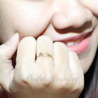 Stacking Name Ring - Personalized Name Ring -  Letter Ring - Vintage Handmade - 18K Gold Plated