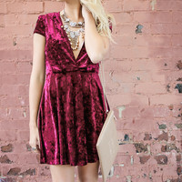 Welcome To The Party Burgundy Crushed Velvet A-Line Dress