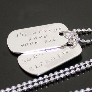 Sterling Silver Dog Tags, Personalized Mens Military Dog Tags, Sterling Silver Necklace, date ,GPS , latitude, longitude, coordinates