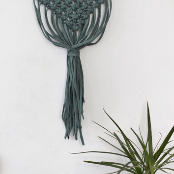 Macrame Wall Hanging on an Oak Stick. Modern Minimalist Style. 100% Cotton Jersey Yarn. Green Color
