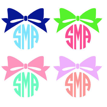 Monogrammed Bow Decal Choose any 2 Colors