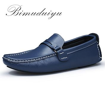 New Men Flats Soft Bottom Leather Comfy Driving Shoes Handmade Summer Slip On Causal Shoes For Man