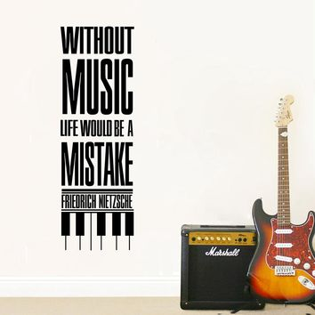 """"""" Without music, life would be a mistake """" Wall Art Decals Friedrich Nietzsche Famous Saying"""