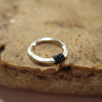 Silver Nose Ring with Black Hammered & Wrapped