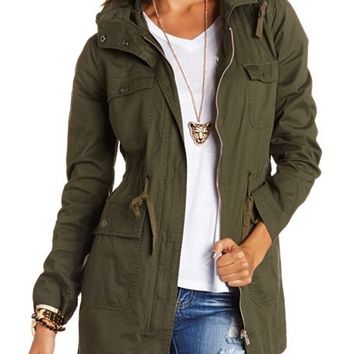 Long Hooded Anorak Jacket: Charlotte Russe
