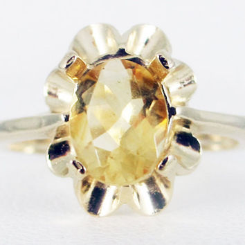 Golden Citrine 14k Yellow Gold Oval Crown Ring, Oval Yellow Citrine Ring, November Birthstone Ring, Solid 14 Karat Gold Ring, 14k Gold Ring