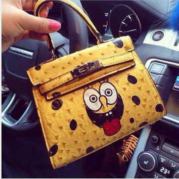 2014 Design fashion yellow cartoon Shoulder Bag Mos Women Messenger Bags Letter SpongeBob smile Leather Handbags for women lady