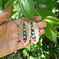 Micro macrame leaves earrings - Nature Leaf Nude