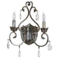 Tabitha 2-Light Wall Sconce in Weathered Silver