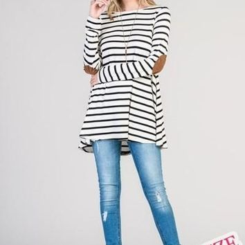 Ivory and Black Stripe Tunic with Elbow Patches