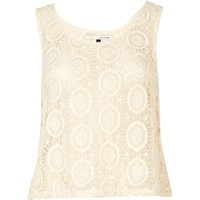 cream embellished lace tank River Island