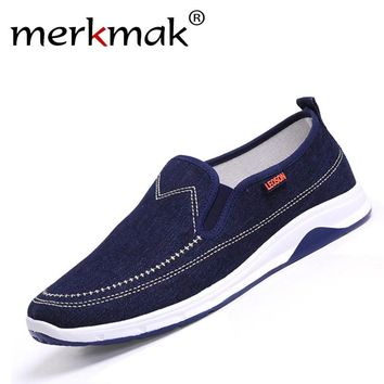Merkmak New Handmade Men Flats Shoes Man's Canvas Shoes Fashion Casual Loafers Shoes Men Slip On Hot Sale Leisure Zapatos Hombre