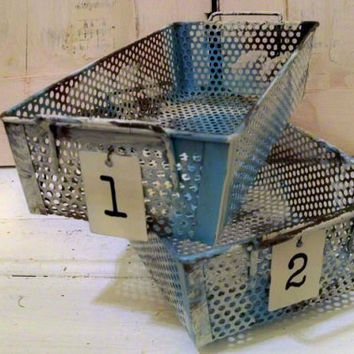Distressed metal basket set embellished number tags rusty painted distressed locker storage style urban farmhouse organizers Anita Spero